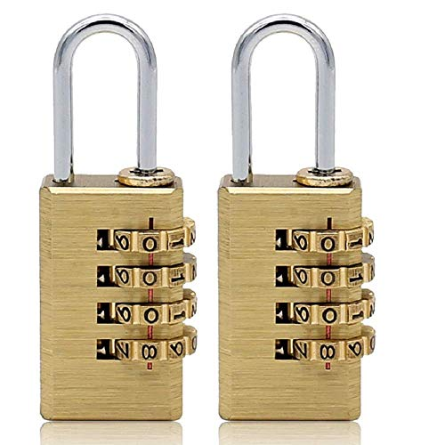 Solid Brass 2 PCS Combination Lock 4 Copper Digit Padlock for Indoor and Outdoor Rustless Die-Cast Set Your Own Combination Padlock, 21mm Wide with 1 in. Long Shackle