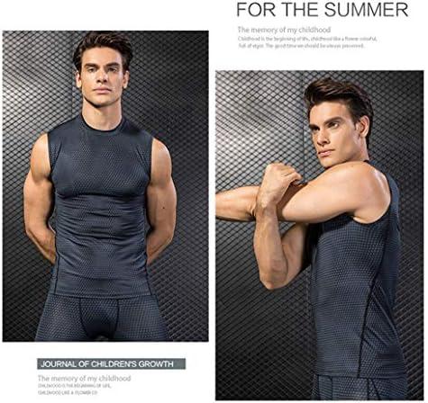 メンズコンプレッションシャツ5パックワークアウトタンクトップストレッチクールドライスリミングボディシェイパーベストスポーツフィットネスランニングアンダーシャツ,A,M