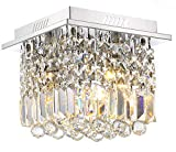 Siljoy Crystal Ceiling Light Modern Square Chandelier Lighting for Hallway Entrance W10″ x H10″ Raindrop Design Review