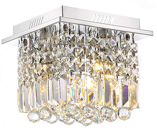 Siljoy Crystal Ceiling Light Modern Square Chandelier Lighti