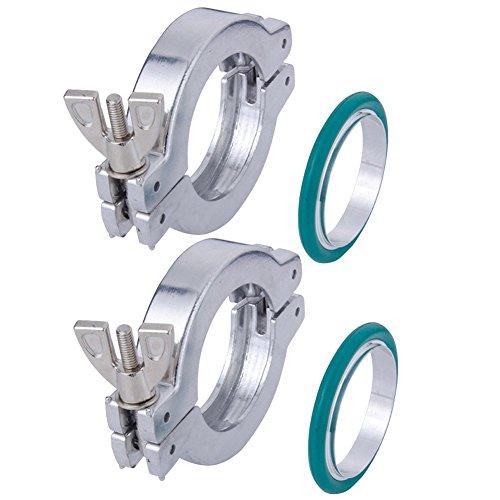 Wing Nut Clamp - 2 Sets KF-25 Aluminium Wing Nut Hinge Clamp + KF25 Aluminum Centering Ring with FKM viton O-ring