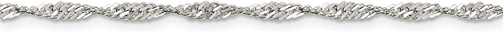 with Secure Lobster Lock Clasp Solid 925 Sterling Silver 2.25mm Singapore Chain Necklace
