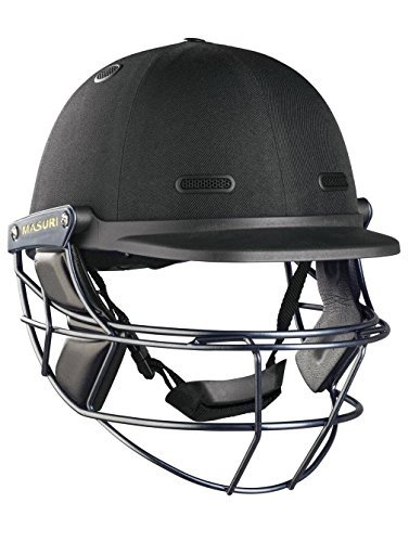 MASURI VS Test Steel Adult Cricket Helmet, Black, Regular by Masuri by Masuri