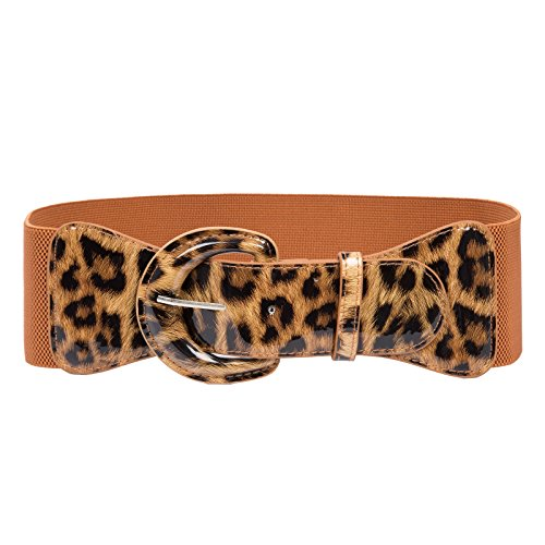 60's Wide Hook Belts Wide Waistband (M,Brown Leopard 469-13) (Stretch Skirt Leopard)