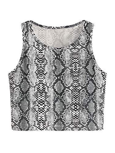 SweatyRocks Women's Summer Sleeveless Letter Print Casual Crop Tank Top Shirts (X-Small, Snakeskin)
