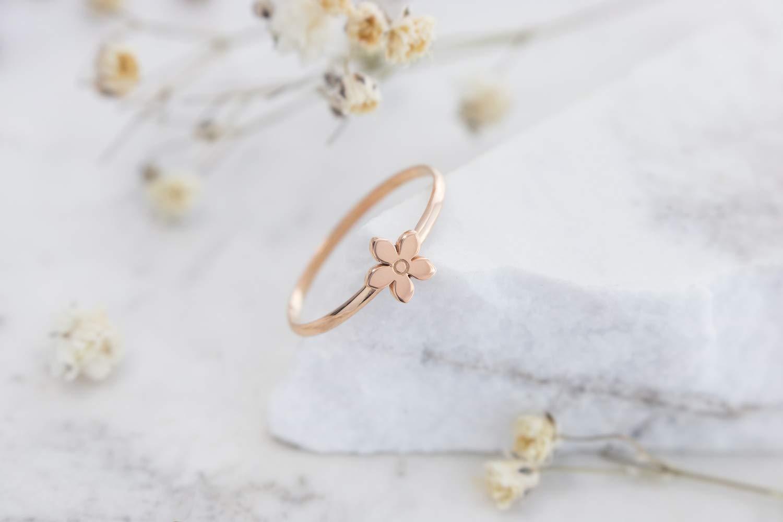 ef839def6e4de Amazon.com: Tiny Gold Flower Ring, 9K, 14K, 18K Gold Ring, Rose Gold ...