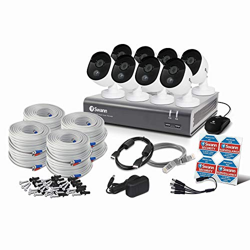 Swann Home Security Camera System, 8 Channel 8 Bullet Cameras, 1080p HD DVR, Indoor/Outdoor Wired Surveillance CCTV, Night Vision, Heat & Motion Sensing, Alexa + Google, 1TB Hard Drive, SWDVK-845808V
