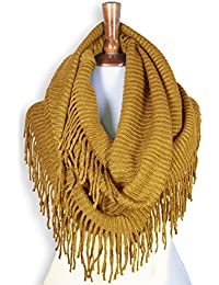 Women Winter Warm Knit Infinity Scarf Tassels Soft Shawl Various Colors