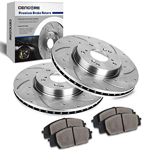 CENCORE Front Left & Right Non-Coated Anti-Rust Complete Set of Brake Disc Kit Cross Drilled & Slotted 2 Brake Rotors Plates & 4 Ceramic Brake Pads 5 Lugs Compatible with 2002-2006 Acura RSX Type S