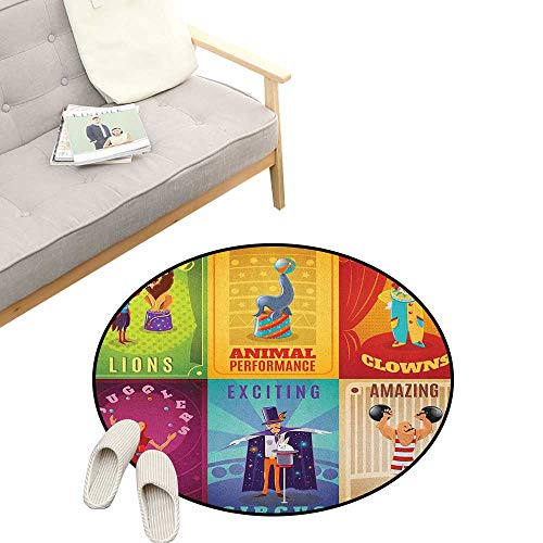 Trapeze Cocktail - Circus Round Area Rug Non-Slip ,Circus Characters with Trained Animals Strong Man Trapeze Artist Retro Show Design, Living Room Bedroom Coffee Table 31