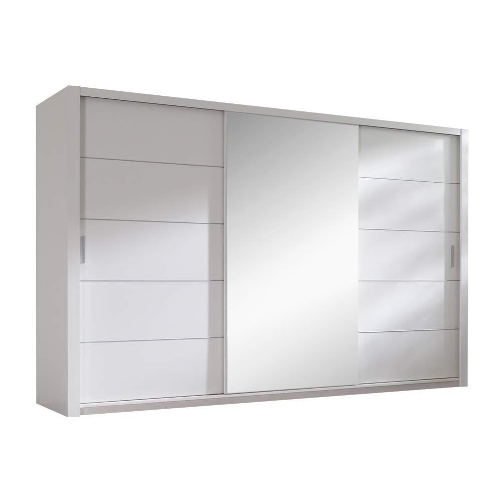 Selsey Ordu - Kleiderschrank / Schwebetürenschrank in Matt mit Spiegel(Weiß 250 cm)