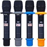 AUCH 4 Sets Shakeproof Wireless Handheld Microphone Anti-rolling Mic Protection Silicone Ring & Bottom Rod Sleeve Holder Set for KTV Device, Multi-Colored