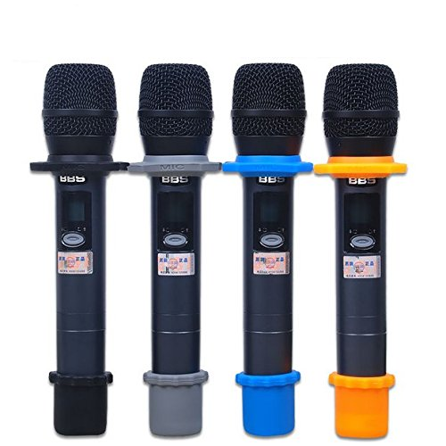 Auch 4 Sets Shakeproof Wireless Handheld Microphone Anti-Rolling Mic Protection Silicone Ring & Bottom Rod Sleeve Holder Set for KTV Device, Multi-Colored FBA_QI098-004
