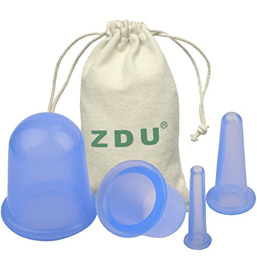 ZDU 4 Pcs Silicone Cupping Cups Set Massage Vacuum Therapy Rubber Cup Body Face Back Legs Cups Kit for Anti Cellulite Anti-aging Wrinkle Reducer Myofascial Release Collagen Stimulator (Cups Cellulite Anti)