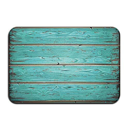 Feim-AO Aquamarine Old Wooden Painted Wall Anti-Slip Machine-Washable Door Mat Home Decor Rug Entrance Mats 30(L) X 18(W) -