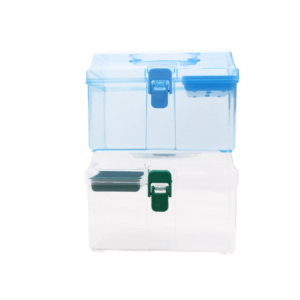 Healifty First Aid Container Clear Bin Pill Storage Case with Removable Handle and Snap Buckle (Random Color)