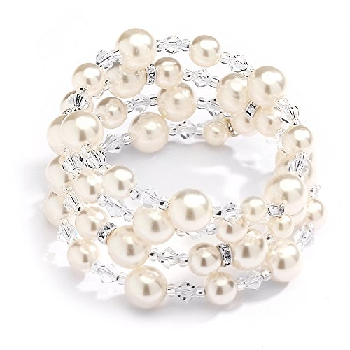 Mariell Handmade Ivory Glass Pearl Wrap Around Wedding Bridal Bracelet - Coil Cuff with Crystal - Austrian Bracelet Crystal Cuff