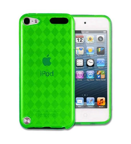 Importer520 Checker TPU Gel Skin Cover Case for Apple iPod Touch 5 5G 5th Generation - 2012 NEWEST MODEL (Neon Green)