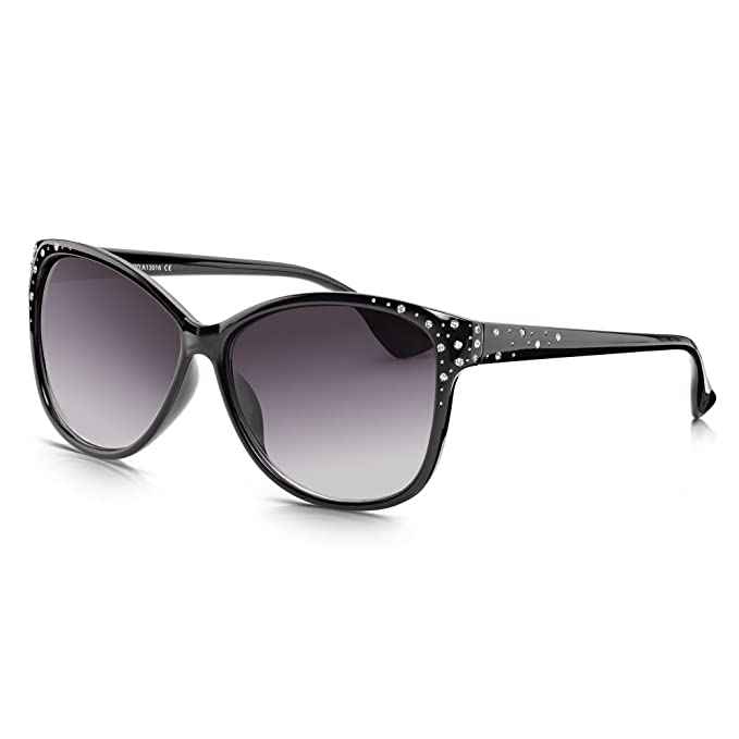 b778effe2 Sunglass Junkie Womens Black Glamour Oversized Cats Eye Sunglasses   Amazon.co.uk  Clothing