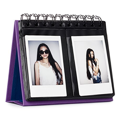 CAIUL Compatible 68 Pockets Desk Calendar Style Photo Album for Fujifilm Instax Mini 7s 8 8+ 9 25 26 50s 70 90 Films (Purple) (Purple And Gold Picture Frame)