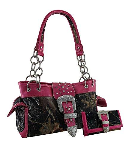 Camouflage Rhinestone Western Buckle Purse/Wallet Set Hot Pink (Hot Pink Trim)