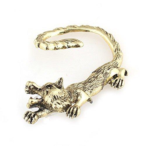 MANDI HOME Wolf Earring Ear Cuff Metal Wrap Gold Tone Wildlife Coyote Fox Animal Fashion (Copper Earrings Coyote)
