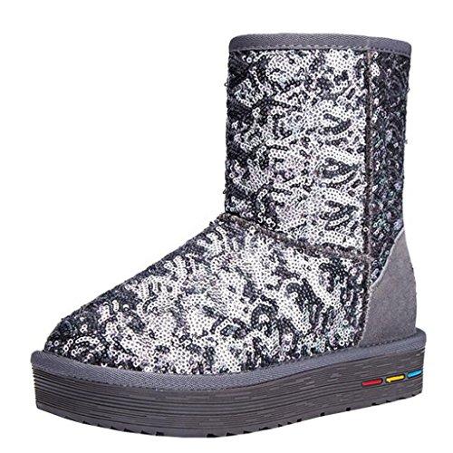 Binying Women's Round-Toe Flatform Slip-on Sequins Fur Snow Boots Grey 3VHul9vA