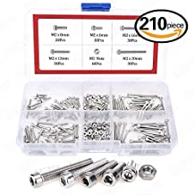 Hilitchi 210pcs M2 Stainless Steel Hex Socket Head Cap Screws Nuts Assortment Kit with Box (Steel M2)