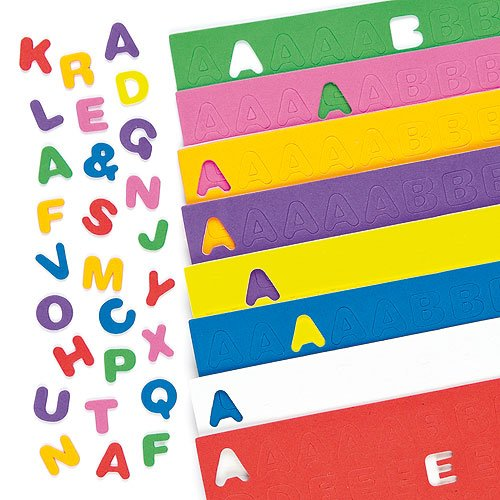 Baker Ross Self-Adhesive Foam Upper Case Letters (Pack of 600) Alphabet Sticker Craft Supplies for Children
