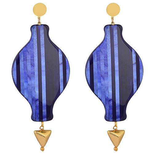 Shaze Gold Colored Ocean's Blue Earrings for Women by shaze
