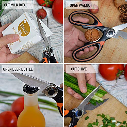Kitchen Scissors Heavy Duty, Upgraded Sharp Stainless Steel Kitchen Shears Multipurpose Utility Cooking Scissor with Blade Cover for Chicken, Fish, Meat, Poultry, Vegetables, Herbs, Bones, Nuts, BBQ