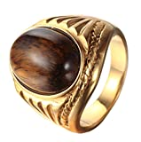 PMTIER Men's Stainless Steel Oval Tiger Eyes Gemstone Ring