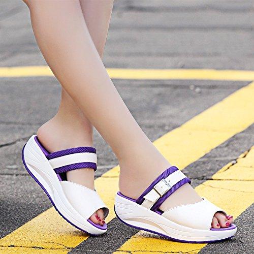 Chicas Primavera Zapatillas Violeta Oficina Fría En Playa Y Usan Verano amp;QIUMEI Verano De Zapatos En OME PHqWSptcgt