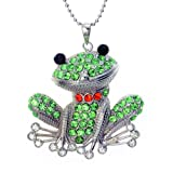 PammyJ Crystal Happy Green Frog Pendant Necklace, 24""