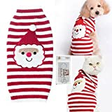 Bolbove Pet Santa Claus Cable Knit Turtleneck Sweater for Cats & Small to Medium Dogs Holiday Knitwear Cold Weather Outfit (Large)