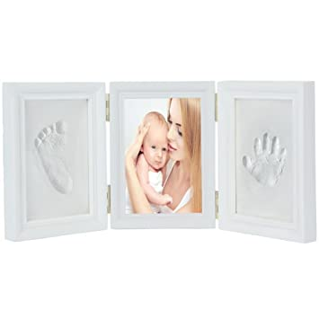 JZK White baby handprint footprint picture frame kit for boys and ...