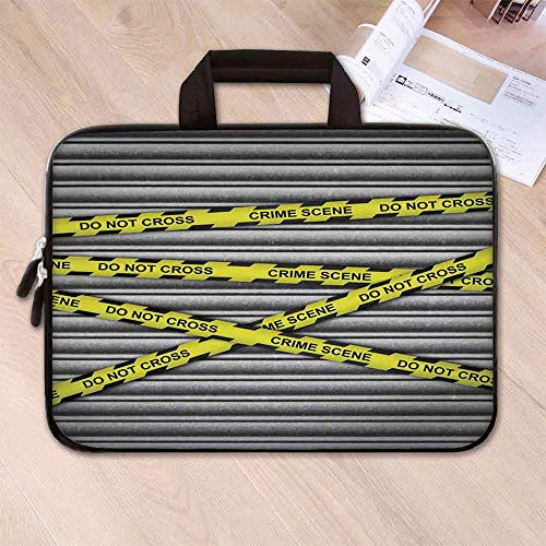 Police Decor Custom Neoprene Laptop Bag,Crime Scene Investigation Do Not Pass Yellow Wraps Quotes Artwork Print for Men Women Students,15.4''L x 11''W x 0.8''H