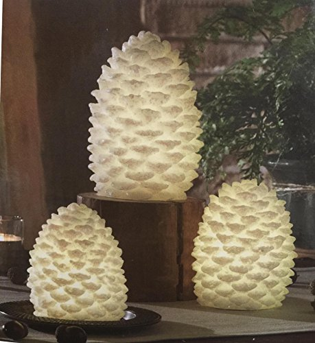 Real Pine Cone - Real Wax LED Large Pine Cone Candle Set of 3 with Daily Timer