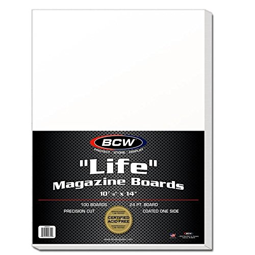 BCW BBMAG-L Life Size Magazine Backing Boards White 100 Boards Collectible Magazine