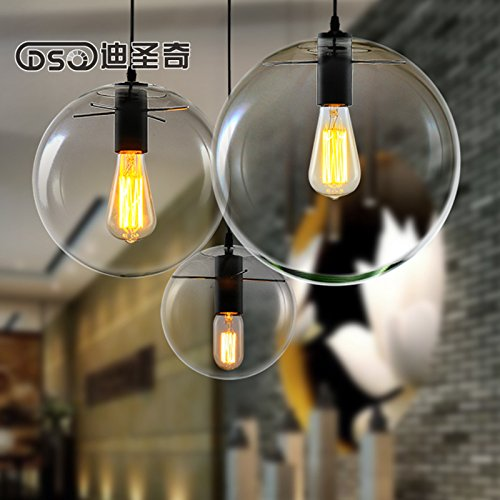 Leihongthebox LoftThe reconstructed villages loft retro industrial wind Industrial Vintage Shade modern creative personality country-style Clear glass Pendant Ceiling Lights Orbs 30 cm diameter,