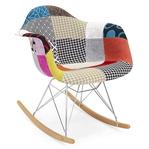 Best Choice Products Living Room Mid-Century Modern Eames Style Accent Rocking Arm Chair Home Furniture – Patchwork