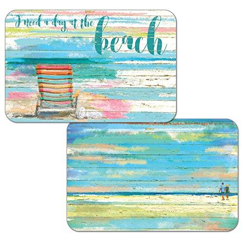 Counterart Set of 4 Reversible Wipe-Clean Decofoam Placemats, Beach Daze ()