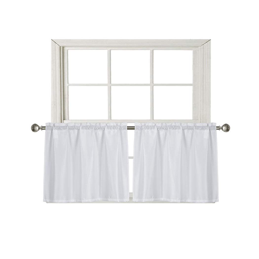 Home Queen Waffle Tier Curtains for Kitchen Window, Waterproof Rod Pocket Bathroom Window Curtain for Small Window, 2 Panels, 36 W X 24 L Inch Each, Solid White