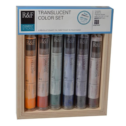 (R&F Handmade Paints Pigment Sticks, Translucent Colors, Set Of 6-Oil Based Pigment Sticks)