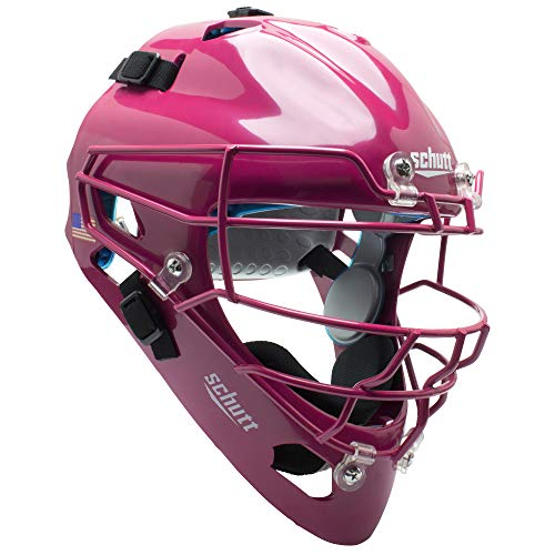Schutt AiR MAXX Hockey-Style Catcher's Helmet with Facemask, Pink, Ultra Lightweight Titanium Face Mask