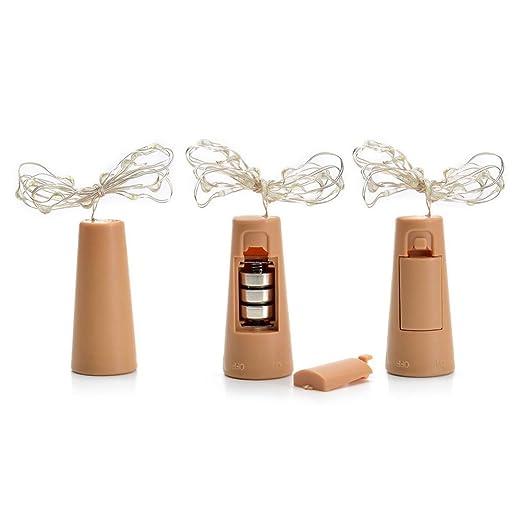 Botellas de luz alambre de cobre Cork forma la luz nocturna LED Vino Botella boda fiesta decoración romántica (Blanco Cálido): Amazon.es: Bebé