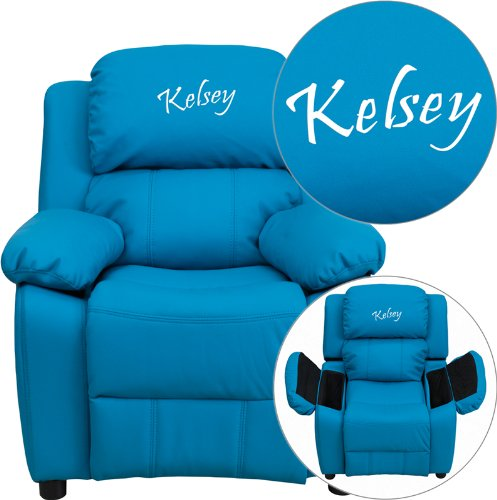 Flash Furniture Personalized Deluxe Heavily Padded Turquoise Vinyl Kids Recliner with Storage Arms - Personalized Infant Rocker