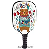 AmaUncle 3D Pickleball Paddle Racket Cover Case,Adorable Cartoon Figure with Flowers and Leaves Spring Inspired Botanical Composition Customized Racket Cover with Multi-Colored,Sports Accessories