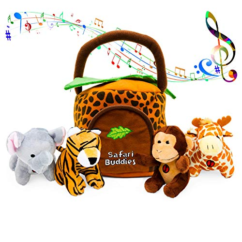 Hoovy Plush Jungle Animals Toy Set (5 Pcs) with Carrier for Kids|Stuffed Monkey, Giraffe, Tiger & Elephant|Great for Boys & Girls