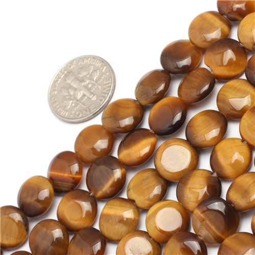 Tiger Eye Coin Gemstone - GEM-inside Tiger Eye Gemstone Loose Beads Natural 10mm Coin Crystal Energy Stone Power Beads For Jewelry Making 15